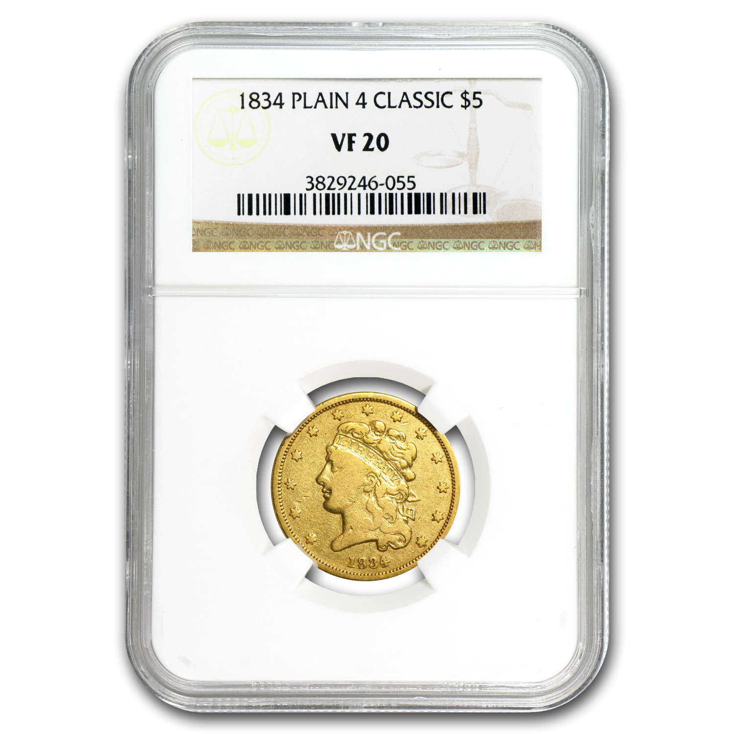 1834 $5 Gold Classic Head Half Eagle Plain 4 VF-20 NGC