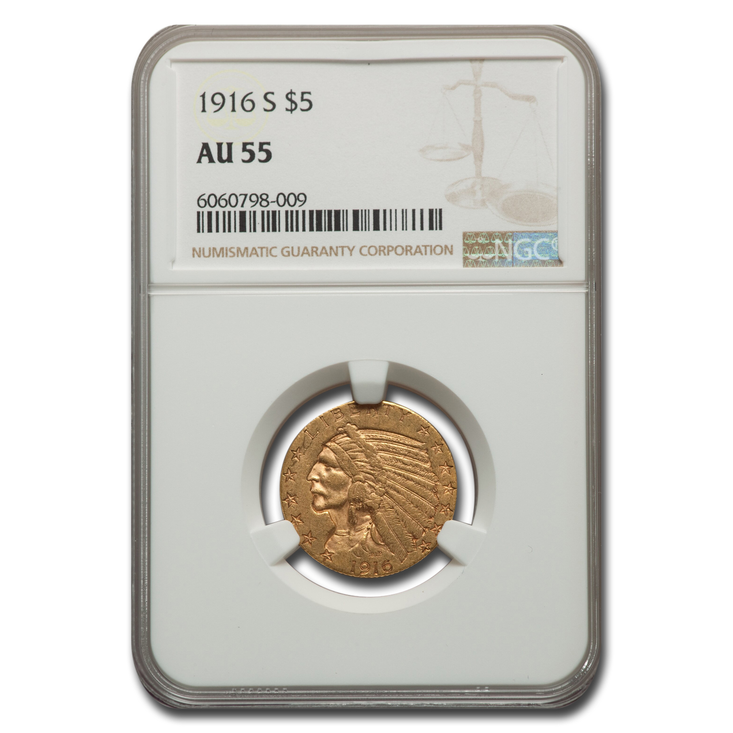 1916-S $5 Indian Gold Half Eagle - AU-55 NGC