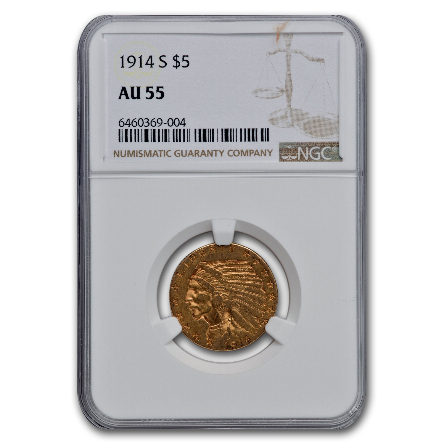 1914-S $5 Indian Gold Half Eagle - AU-55 NGC