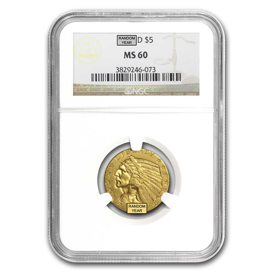 $5 Indian Gold Half Eagle MS-60 NGC/PCGS
