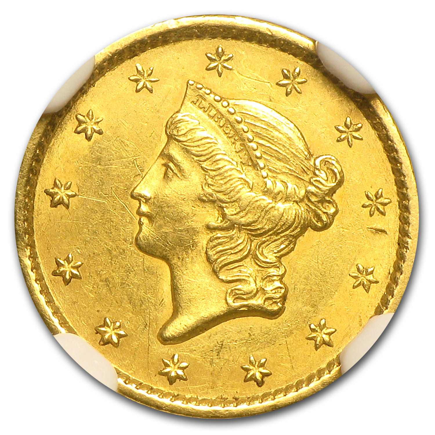1849 $1 Liberty Head Gold Open Wreath Unc Details NGC