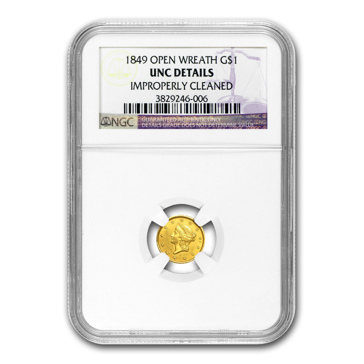 1849 $1 Liberty Head Gold - Open Wreath - Unc Details - NGC