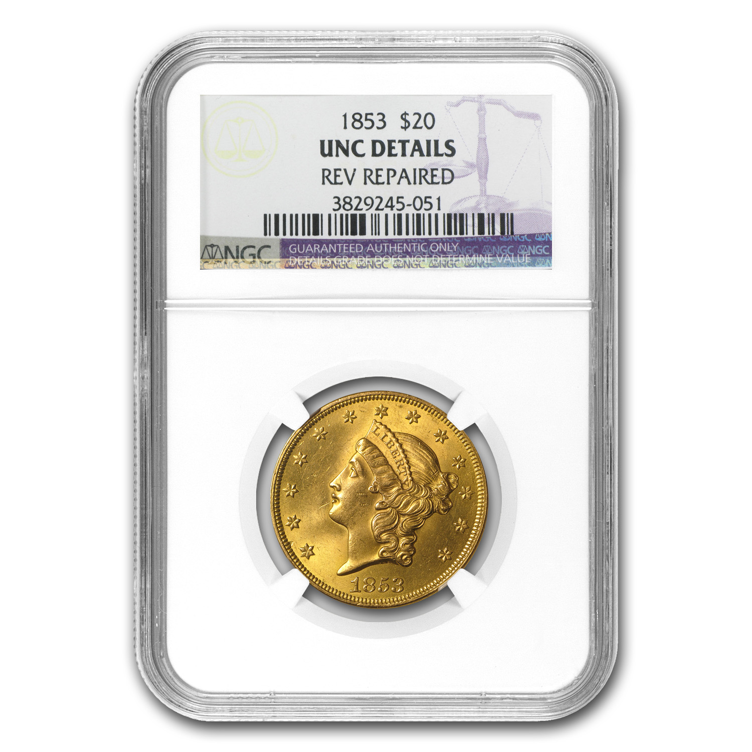 1853 $20 Liberty Gold Double Eagle Unc Details NGC