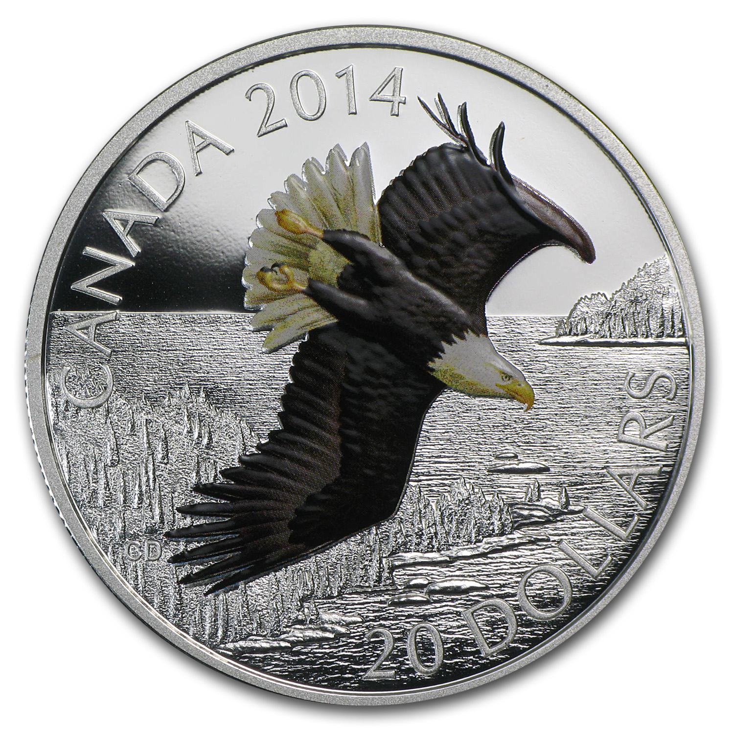 2014 1 oz Silver Canadian $20 Coin - Soaring Bald Eagle