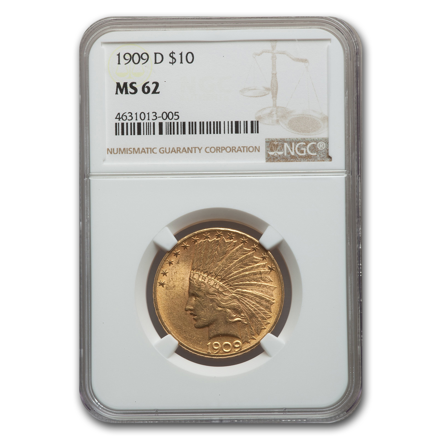 1909-D $10 Indian Gold Eagle MS-62 NGC