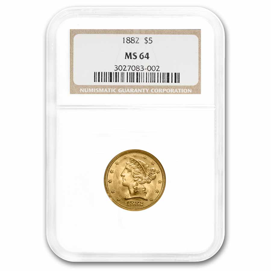 1882 $5 Liberty Gold Half Eagle MS-64 NGC