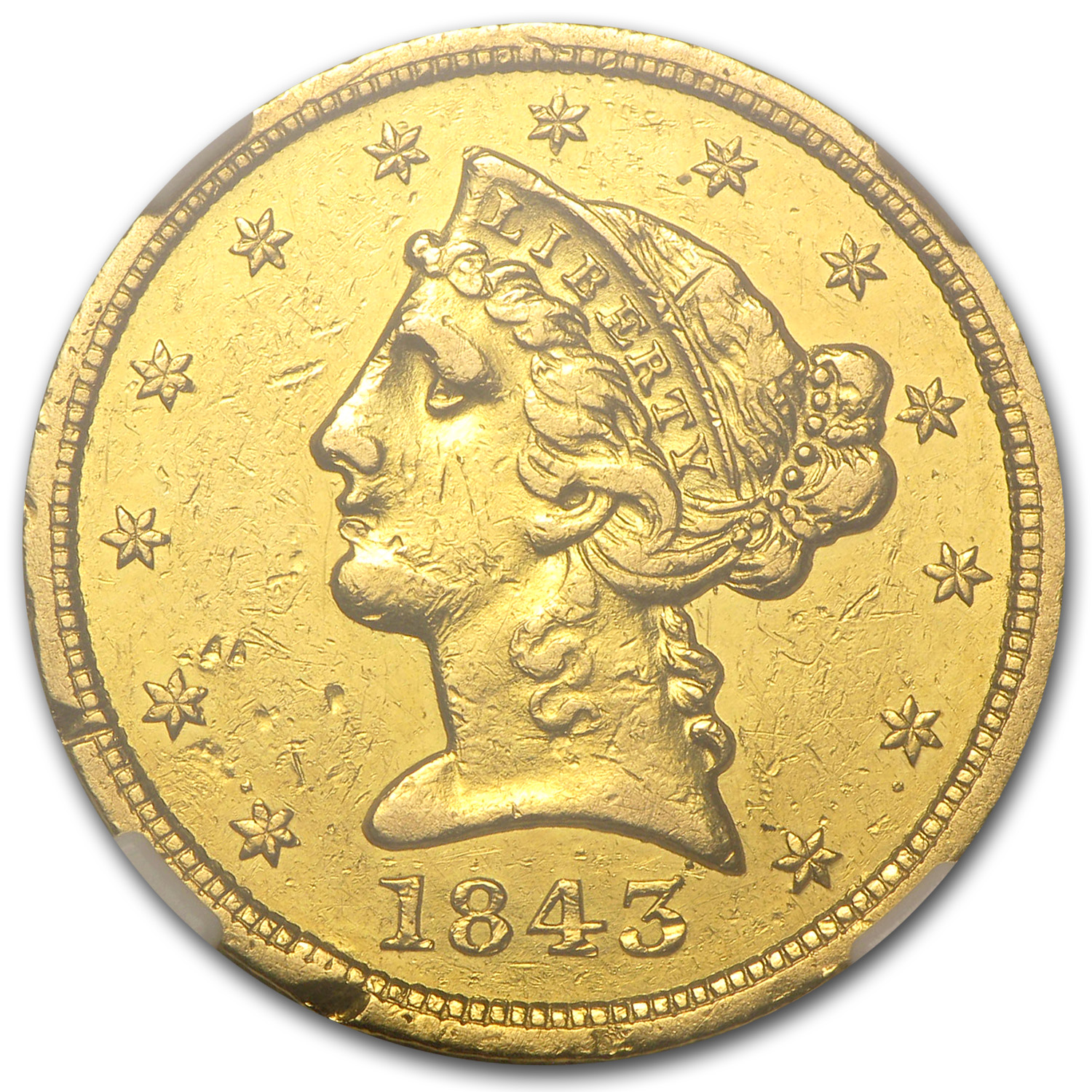 1843-D $5 Liberty Gold Half Eagle AU Details NGC (Cleaned)