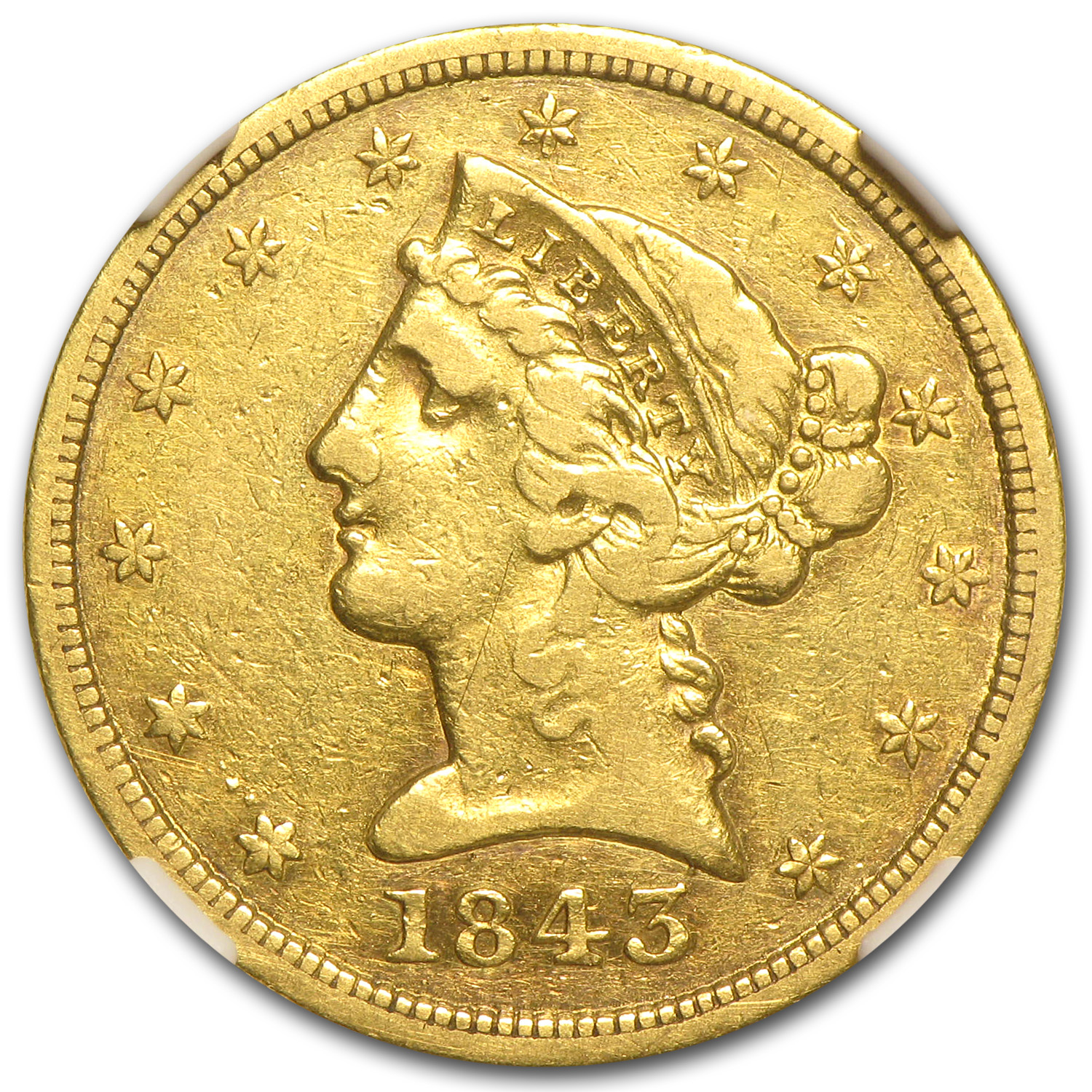 1843-D $5 Liberty Gold Half Eagle - VF Details (Graffiti) - NGC