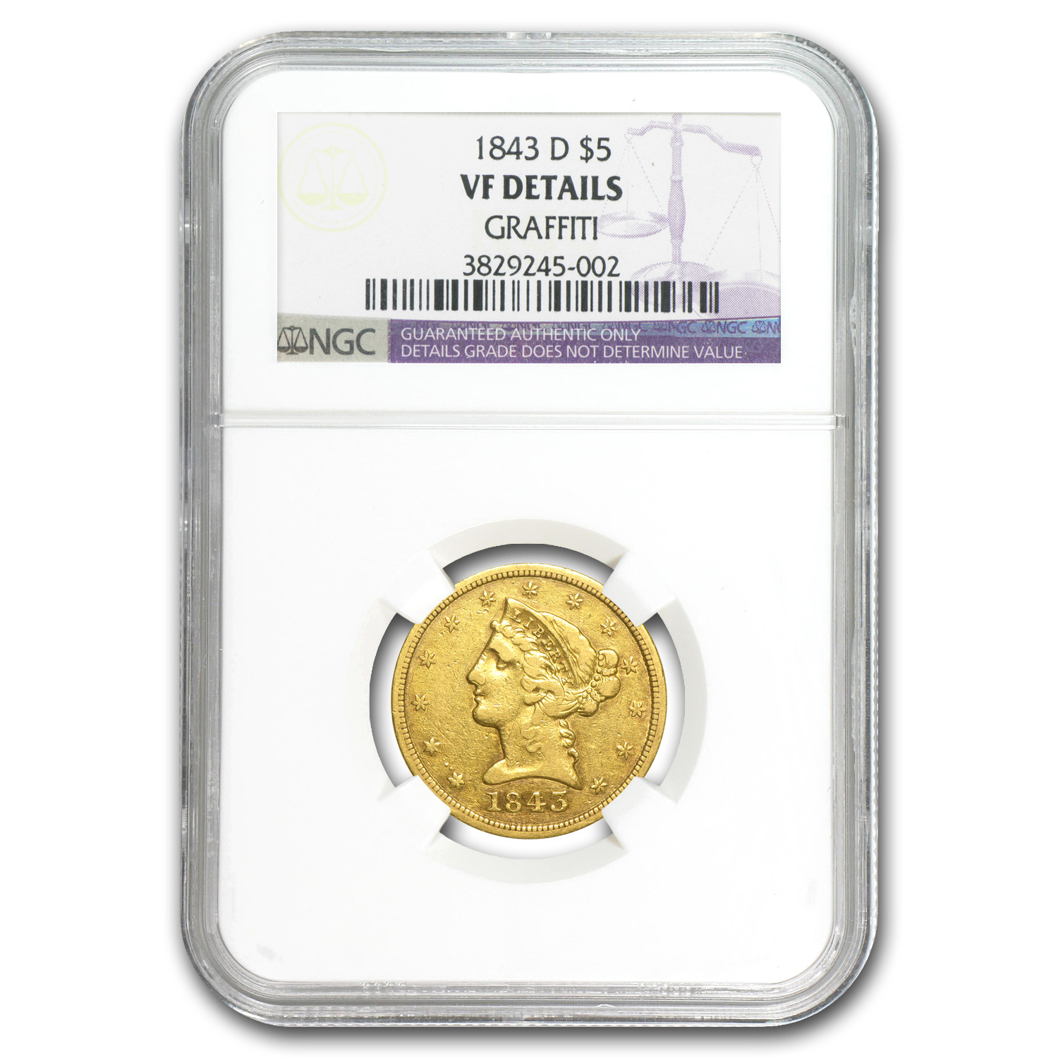 1843-D $5 Liberty Gold Half Eagle VF Details NGC (Graffiti)