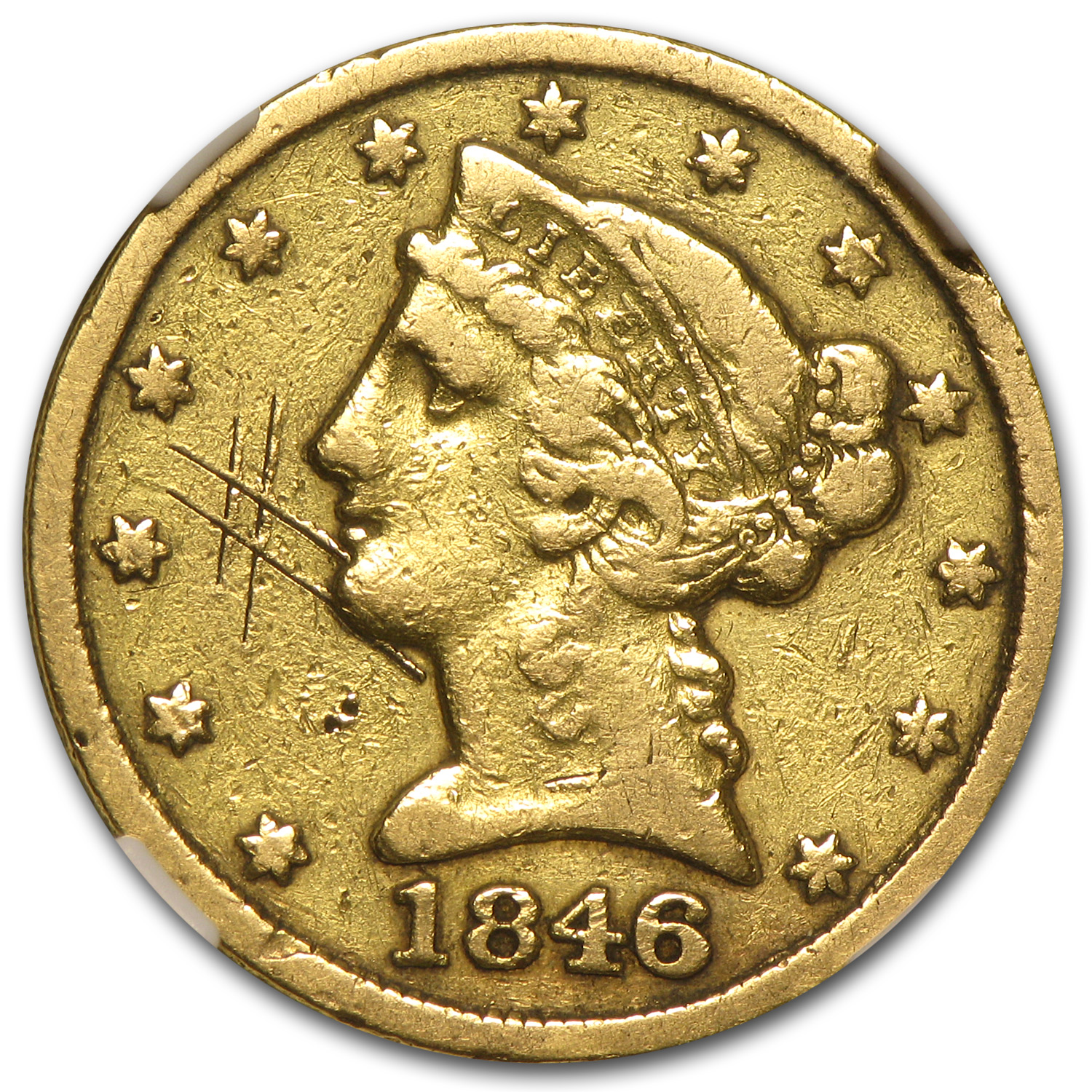 1846-C $5 Liberty Gold Half Eagle VF Details NGC (Graffiti)