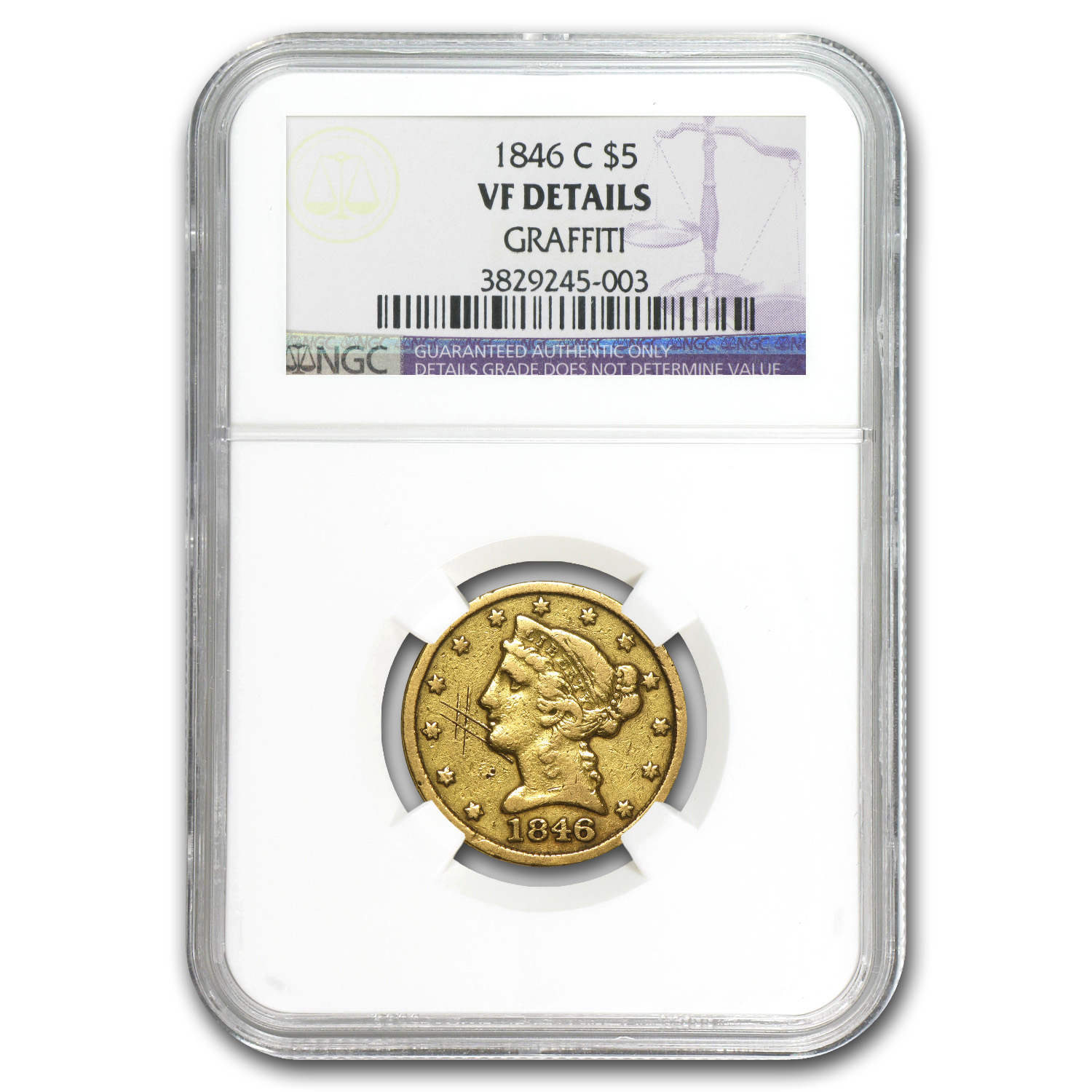 1846-C $5 Liberty Gold Half Eagle - VF Details NGC - (Graffiti)