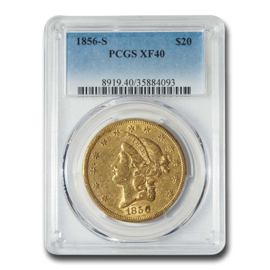 1856-S $20 Liberty Gold Double Eagle XF-40 PCGS