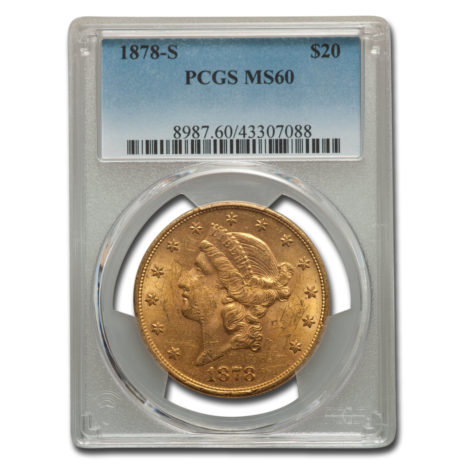 1878-S $20 Gold Liberty Double Eagle - MS-60 PCGS