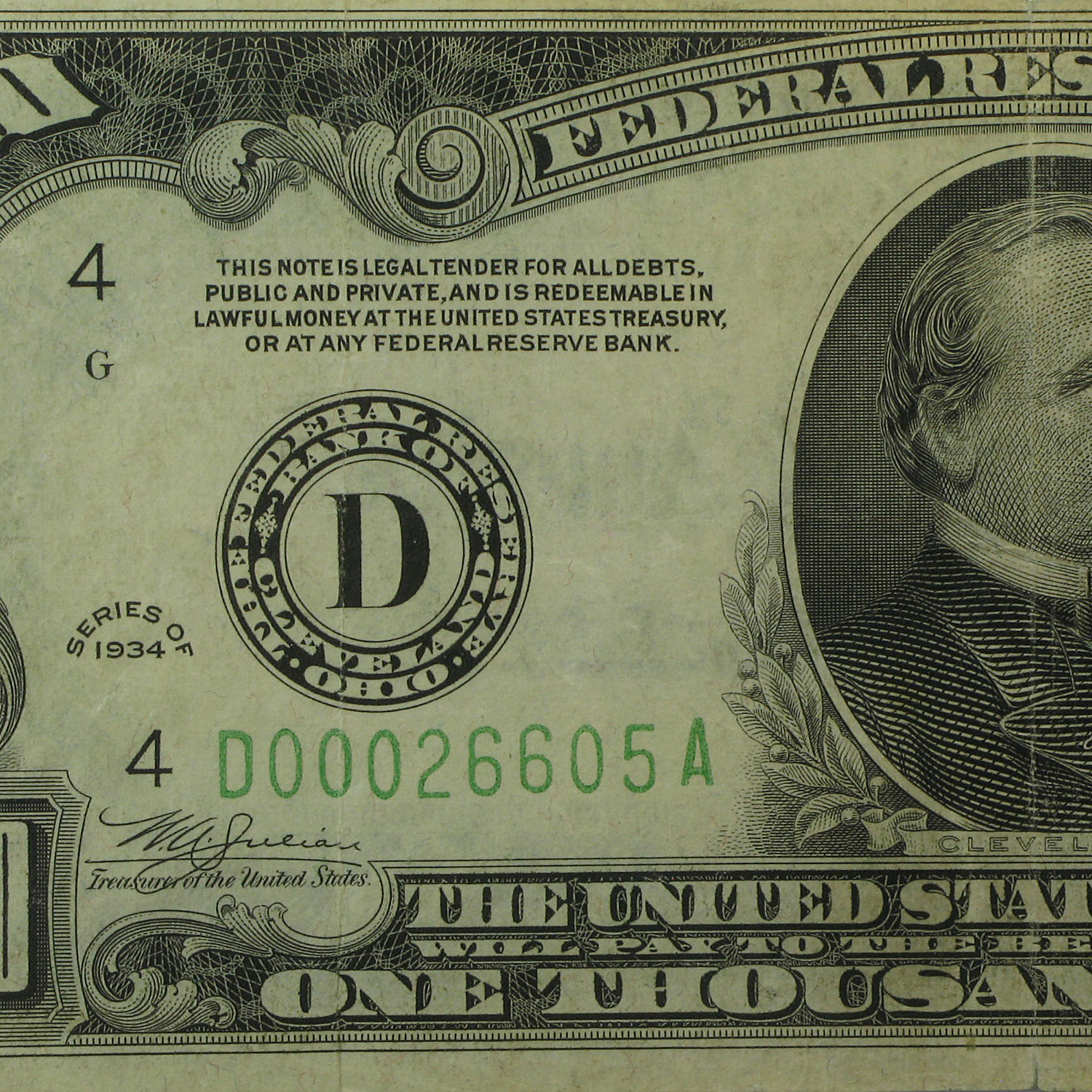 1934 (D-Cleveland) $1,000 FRN Very Fine