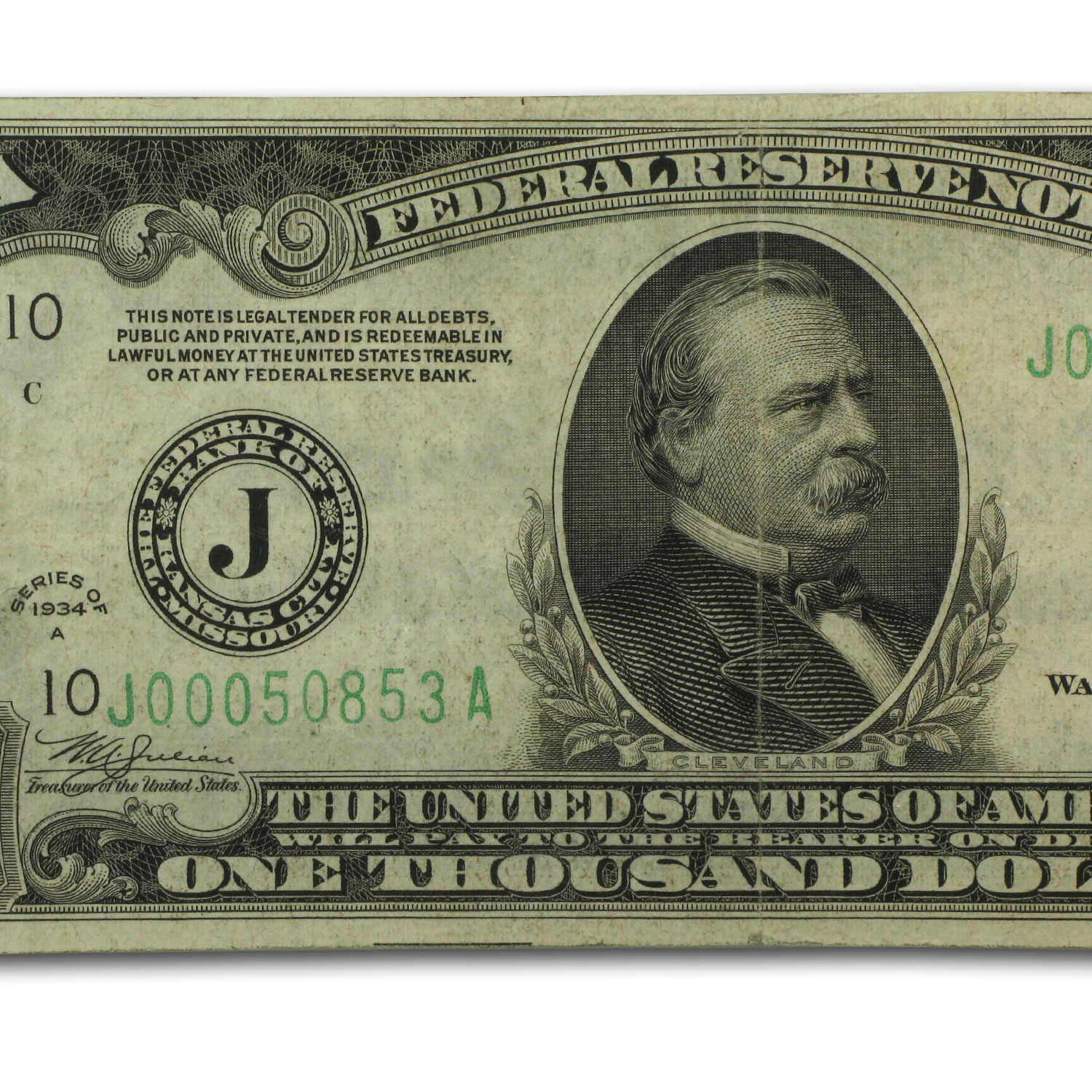1934-A (J-Kansas City) $1,000 FRN (Very Fine)-35 PMG Net