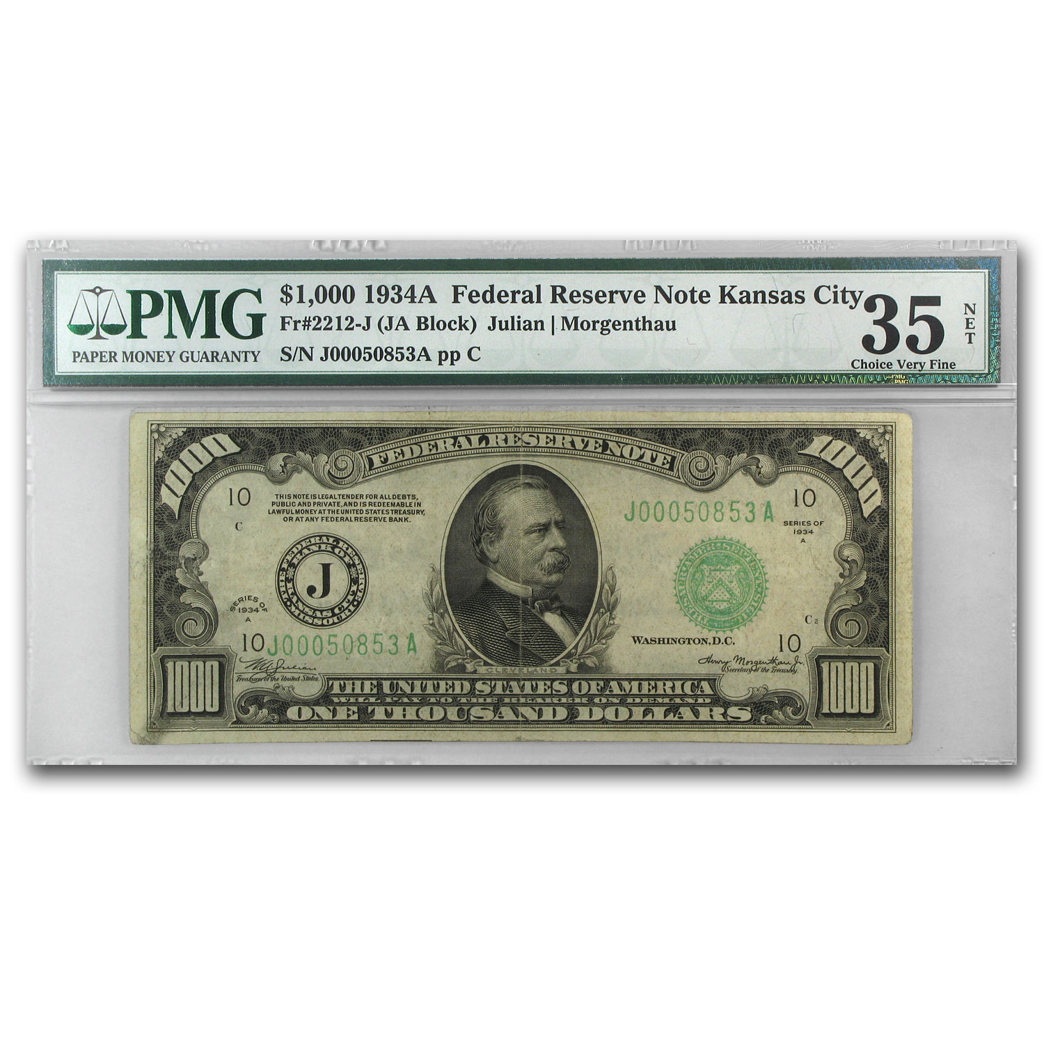 1934-A (J-Kansas City) $1,000 FRN VF-35 Net PMG