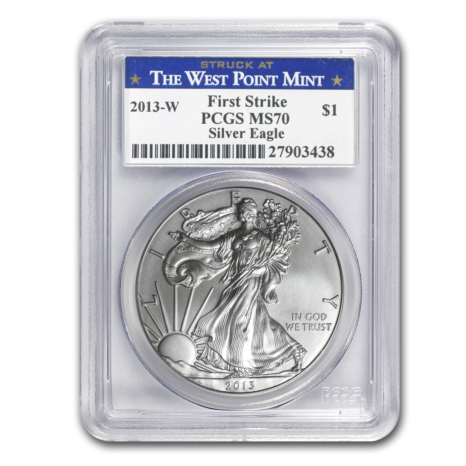 2013-W Burnished Silver Eagle MS-70 PCGS FS WP Label
