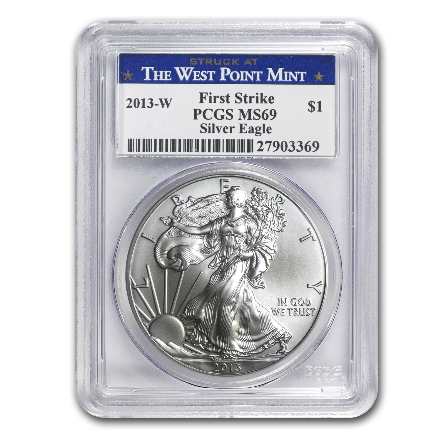 2013-W (Burnished) Silver American Eagle MS-69 PCGS FS WP Label