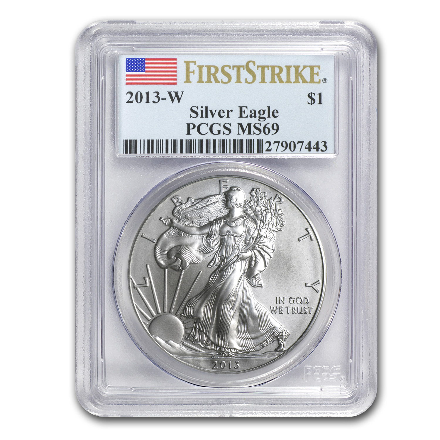 2013-W (Burnished) Silver American Eagle MS-69 FS PCGS