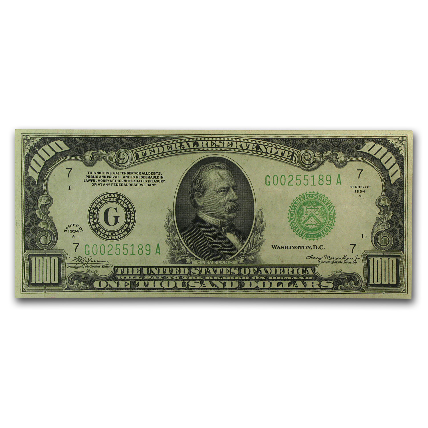1934-A (G-Chicago) $1,000 FRN XF+