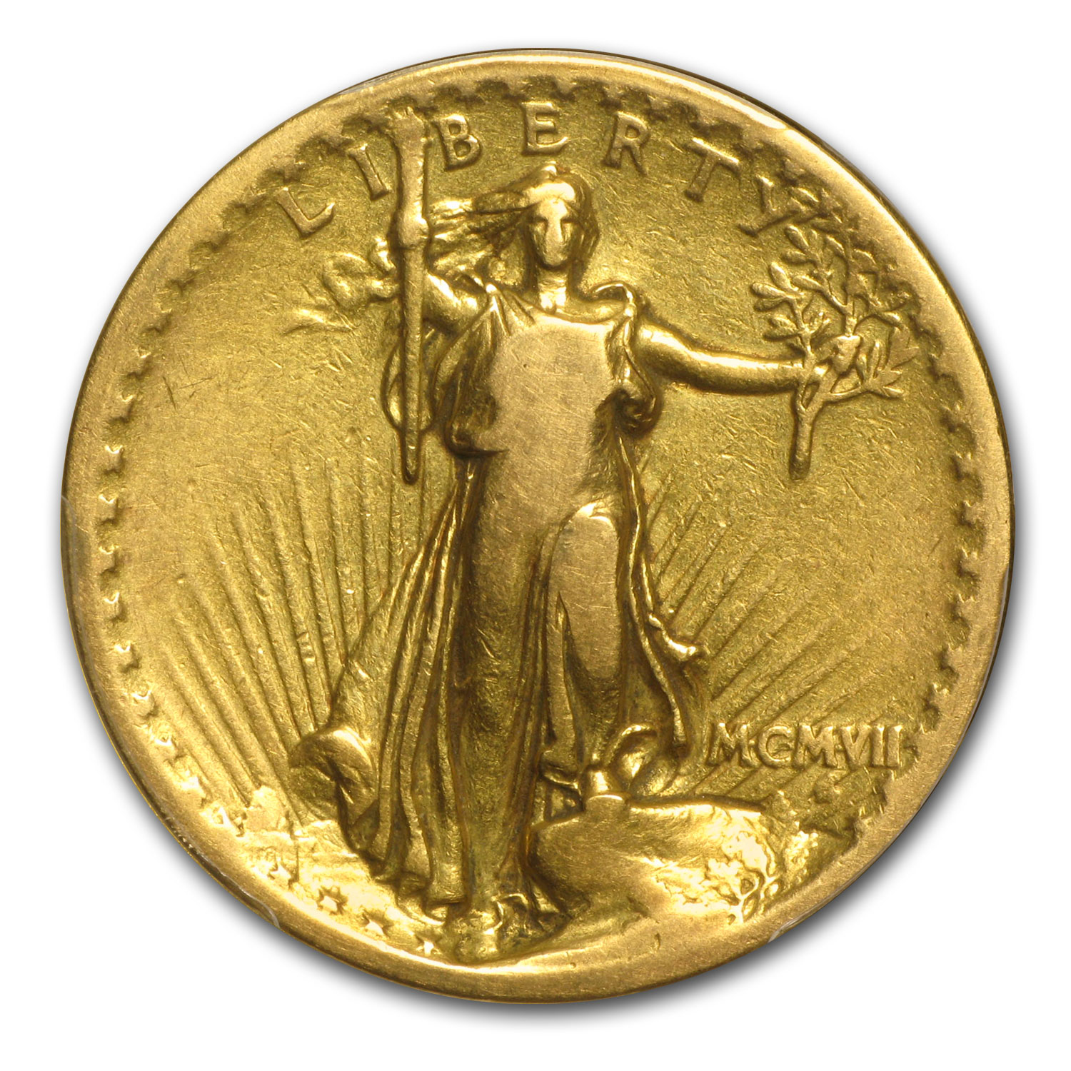 1907 $20 St. Gaudens Gold - High Relief Flat Rim - VG Detail PCGS