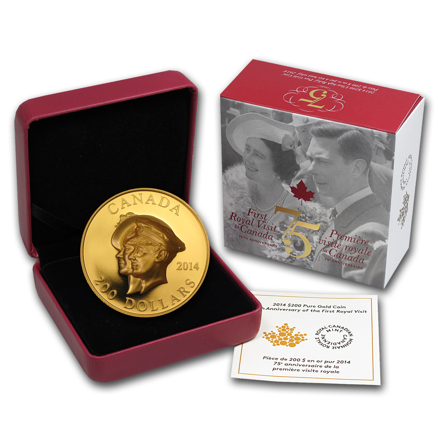 2014 Canada 1 oz Prf Gold 75th Anniv of First Royal Visit (UHR)