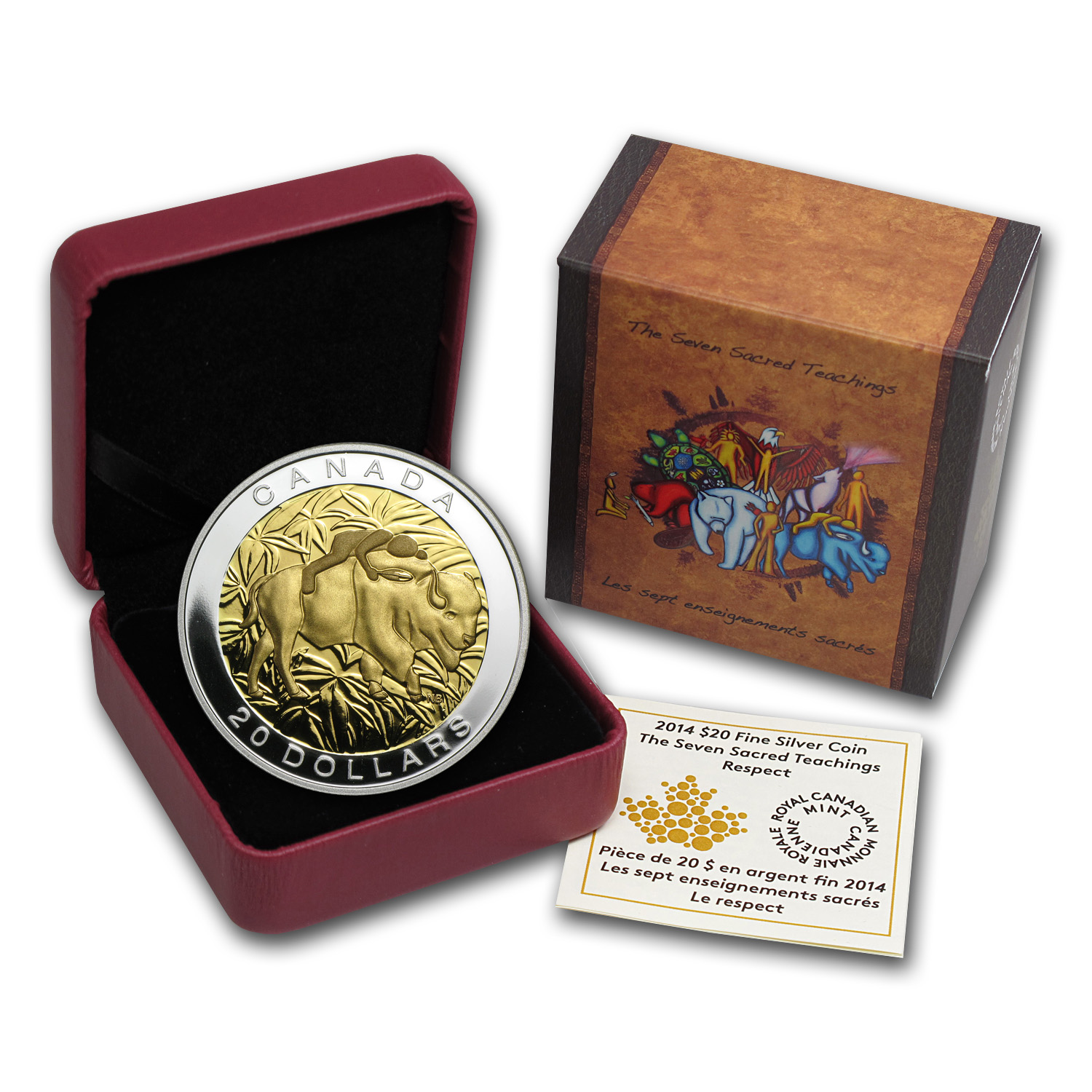 2014 Canada 1 oz Silver $20 The Seven Sacred Teachings Respect