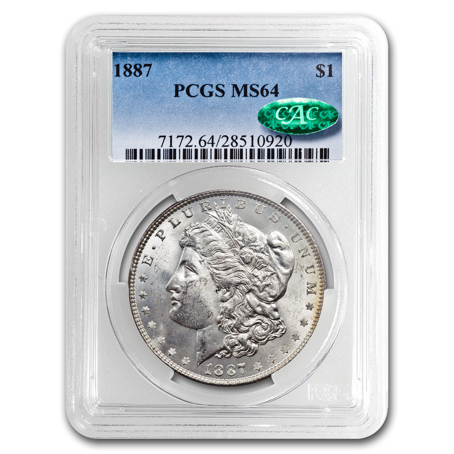 1887 Morgan Dollar MS-64 PCGS (CAC, Arc Toning)
