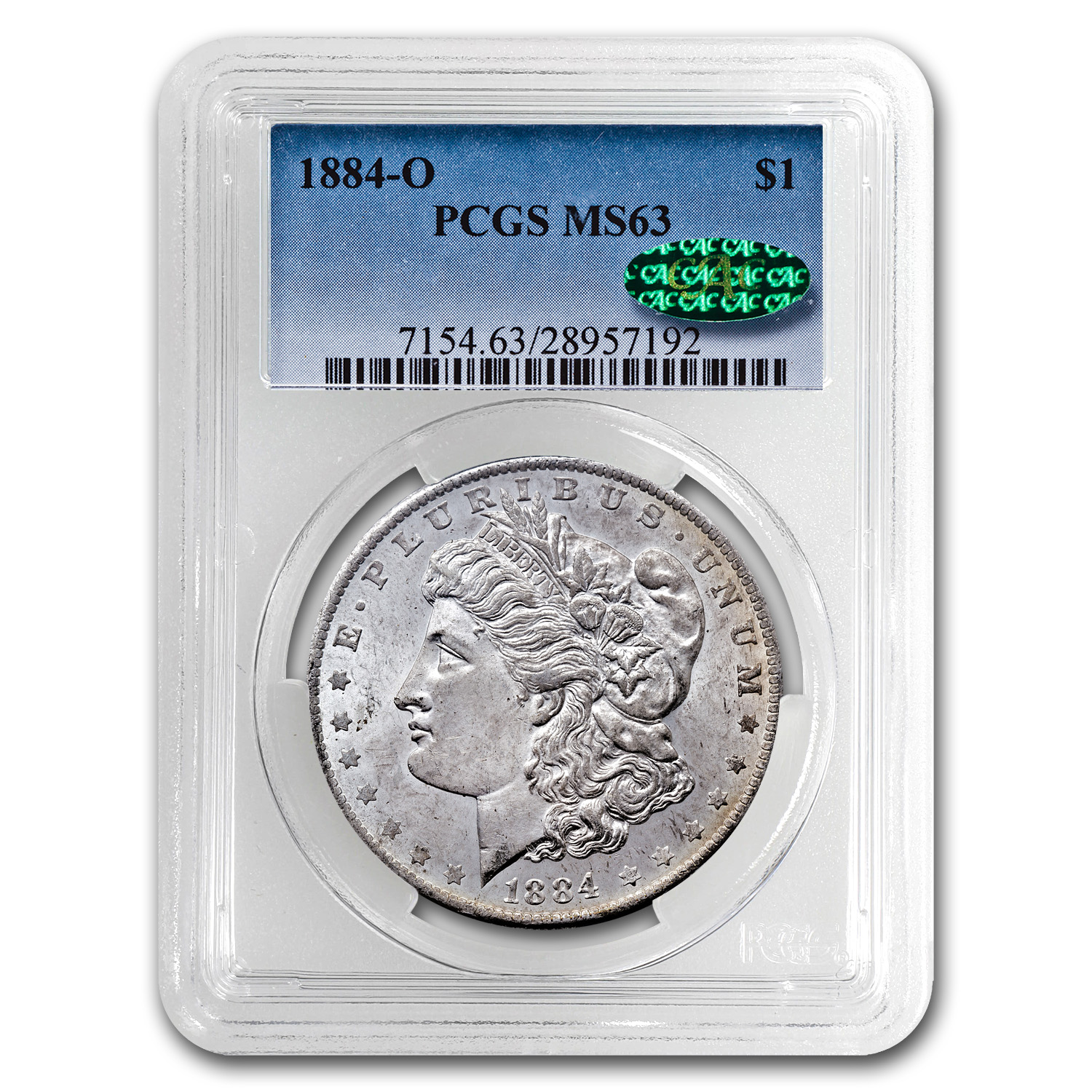 1884-O Morgan Dollar MS-63 PCGS (CAC, Blistered Toning)