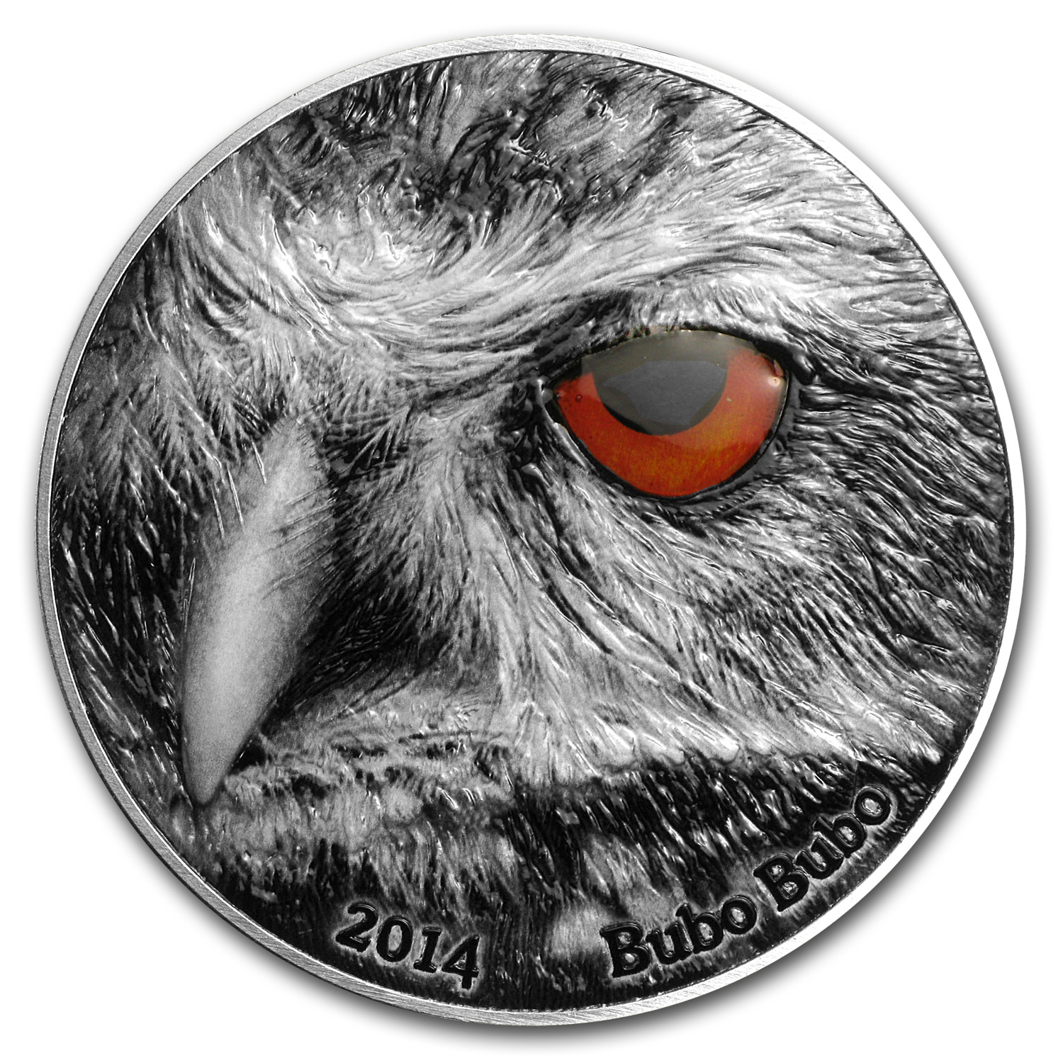 2014 Congo 2 oz Silver Nature's Eyes Bubo Bubo