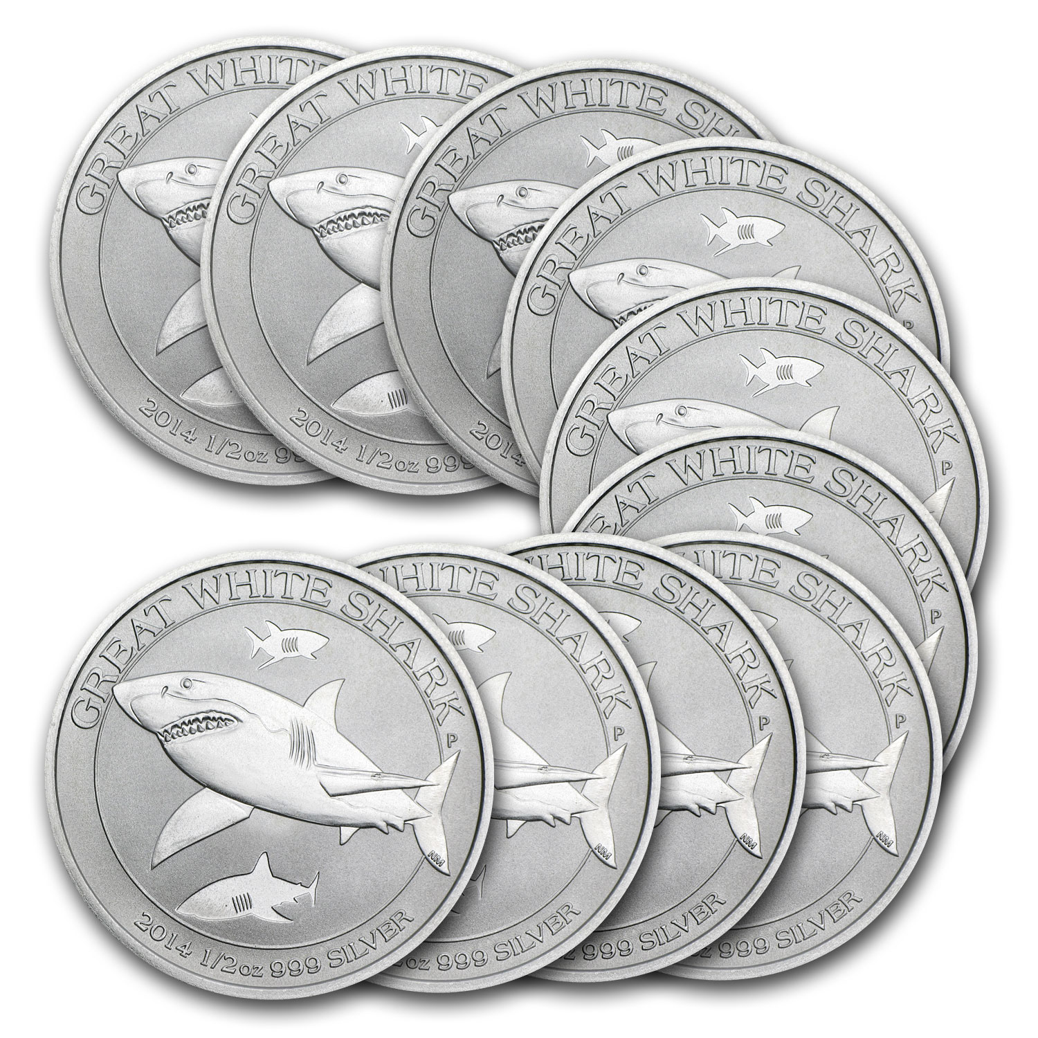 2014 1/2 oz Silver Australian Great White Shark (Lot of 10)