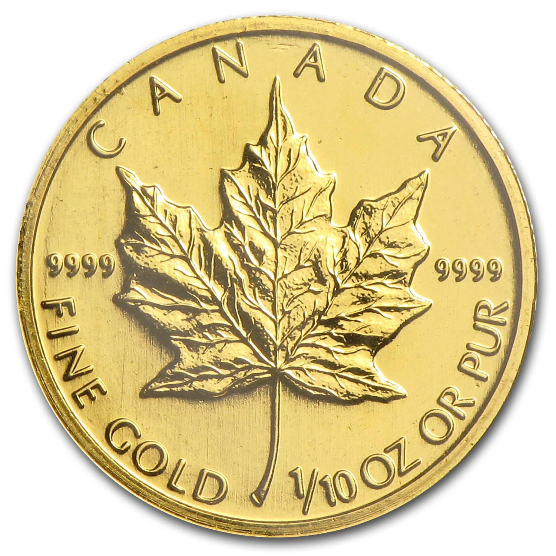 1998 Canada 1 10 Oz Gold Maple Leaf Bu Gold Value