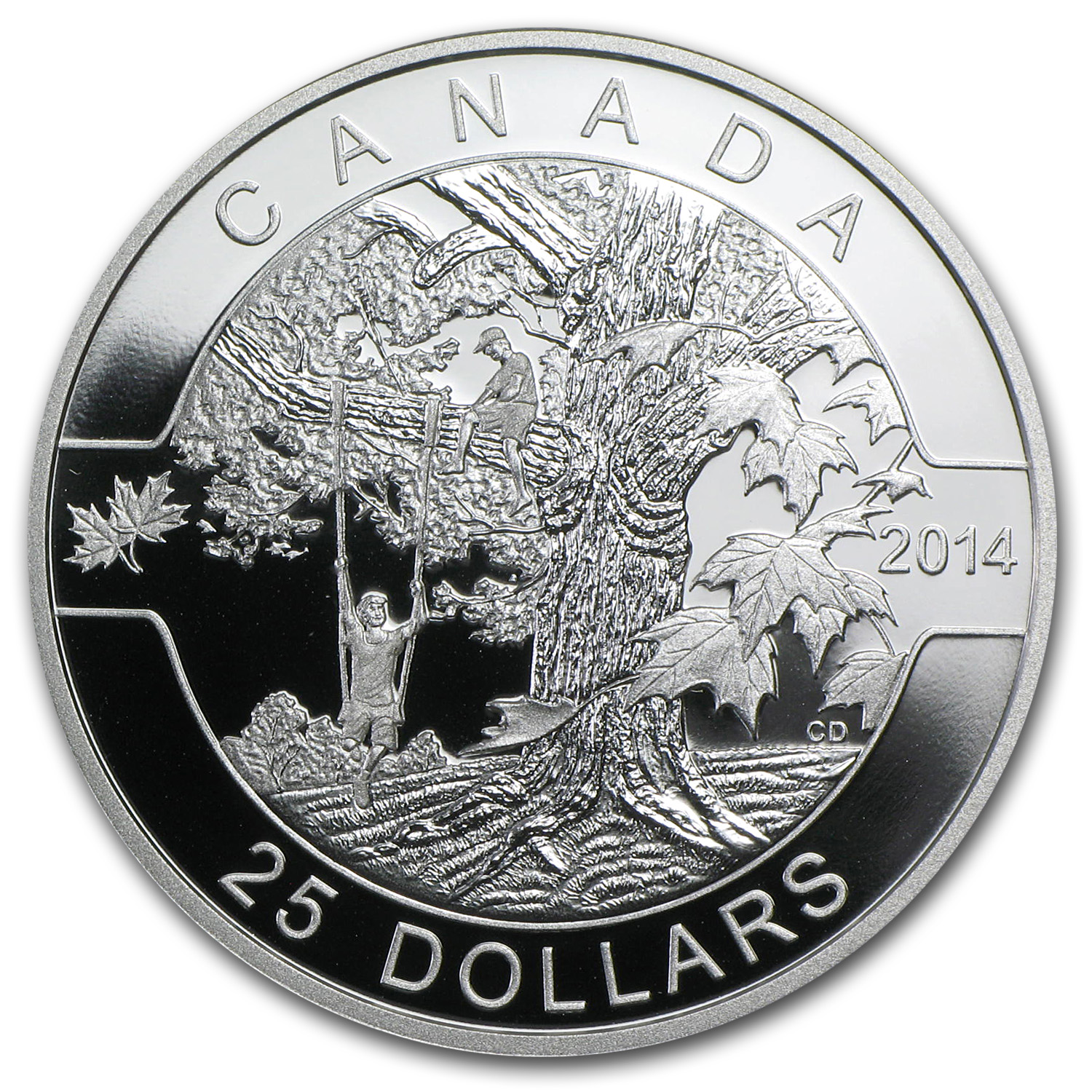 2014 1 oz Silver Canadian $25 Coin - Under The Maple Tree