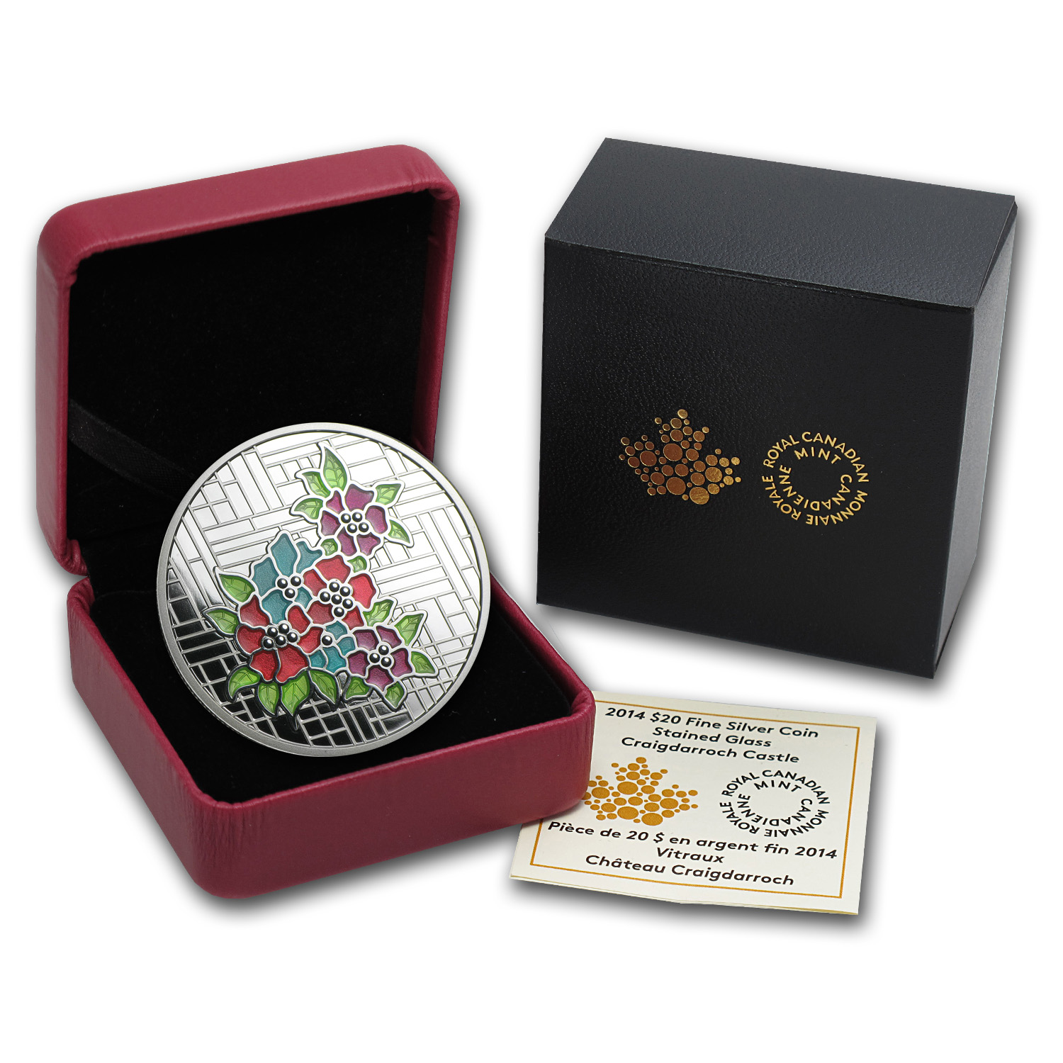 2014 1 oz Silver Canadian $20 Stained Glass - Craigdarroch Castle