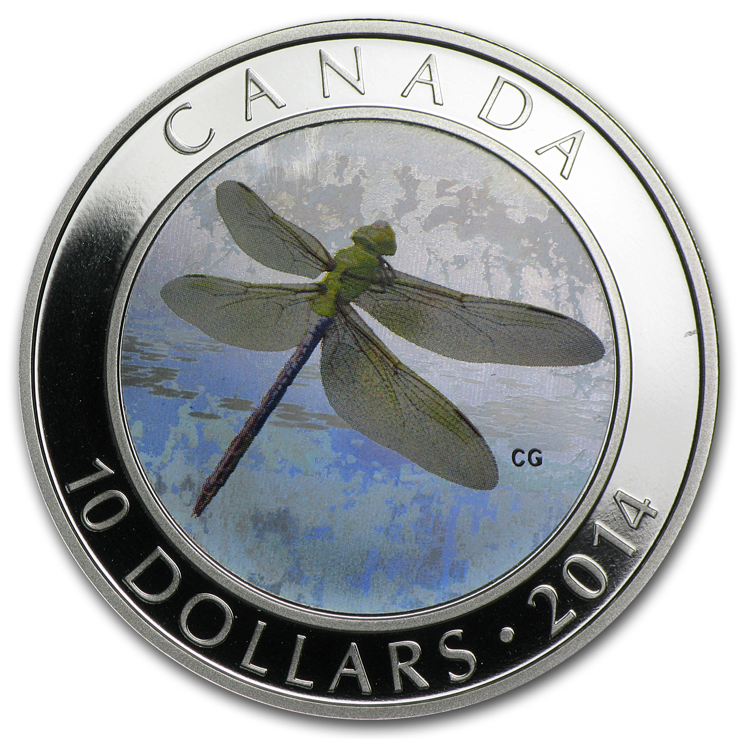2014 1/2 oz Silver Canadian $10 Dragonfly Hologram - Green Darner