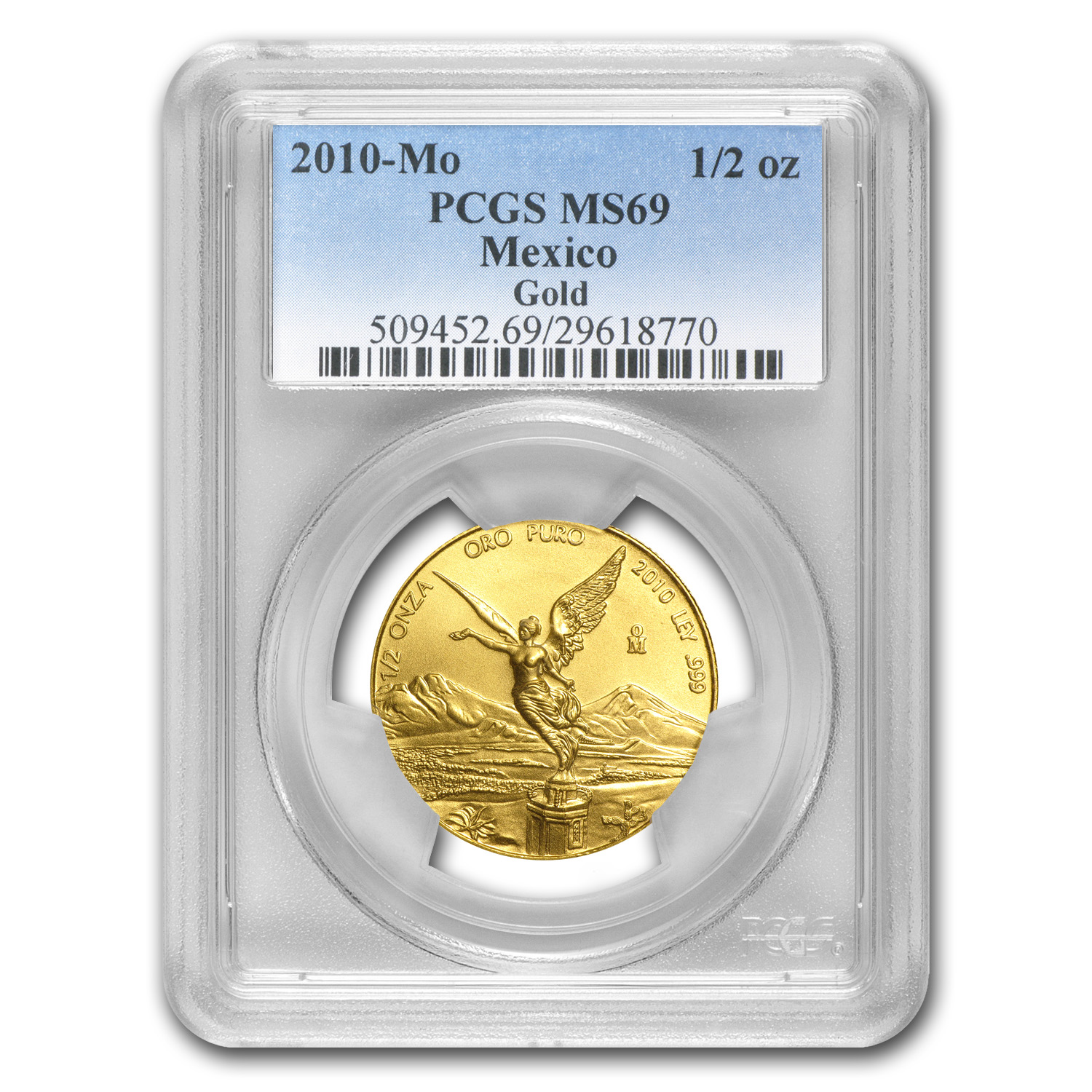 2010 1/2 oz Gold Mexican Libertad MS-69 PCGS