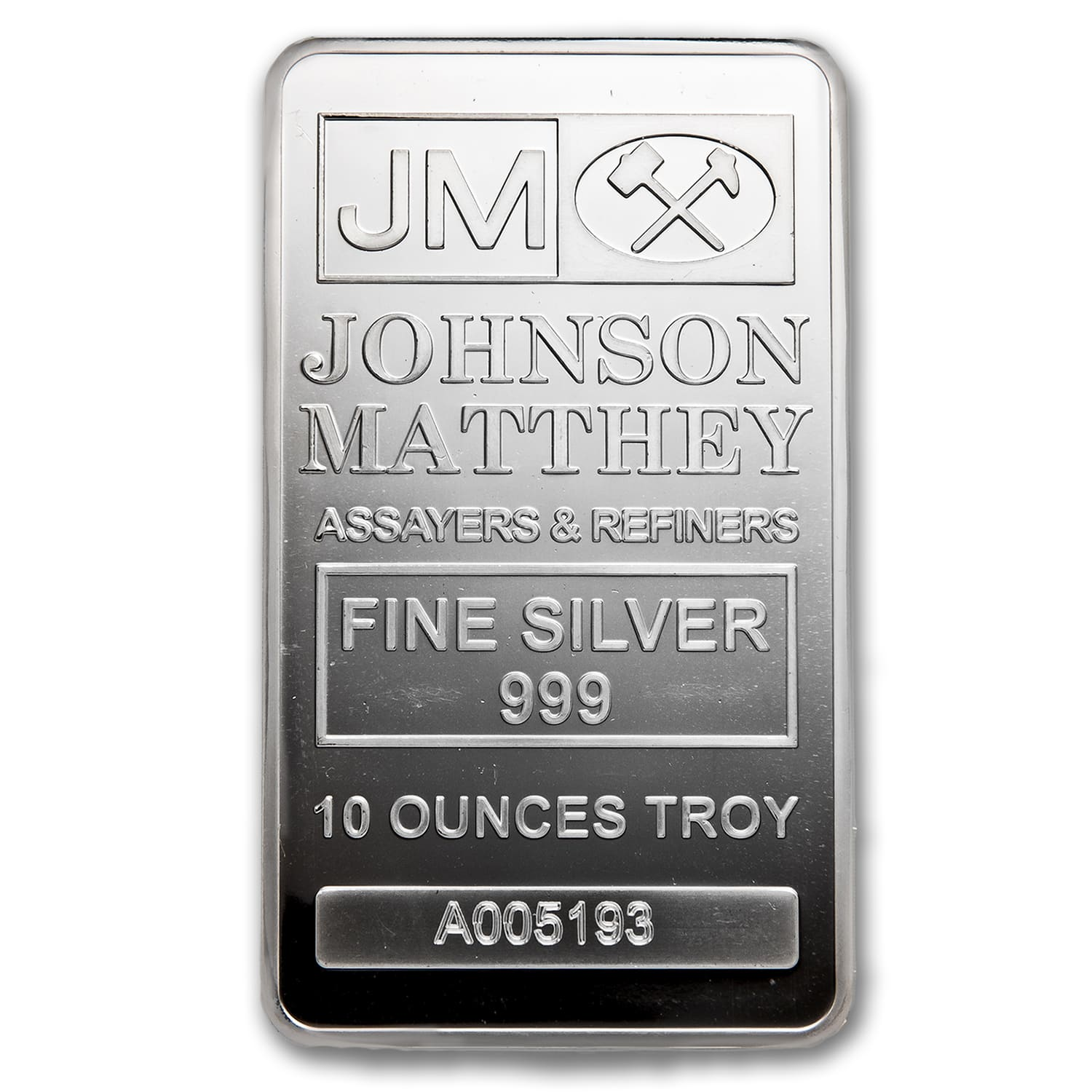 10 oz Silver Bars - Johnson Matthey (New/JM Logo Reverse)