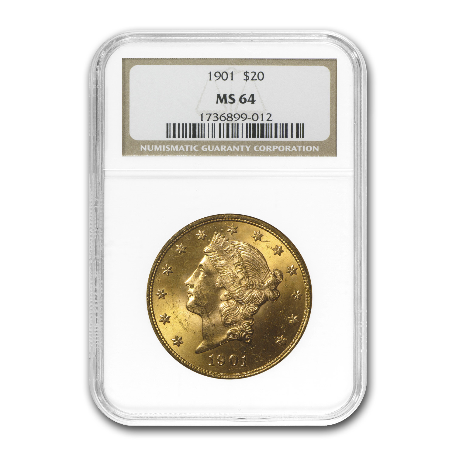 1901 $20 Gold Liberty Double Eagle - MS-64 NGC