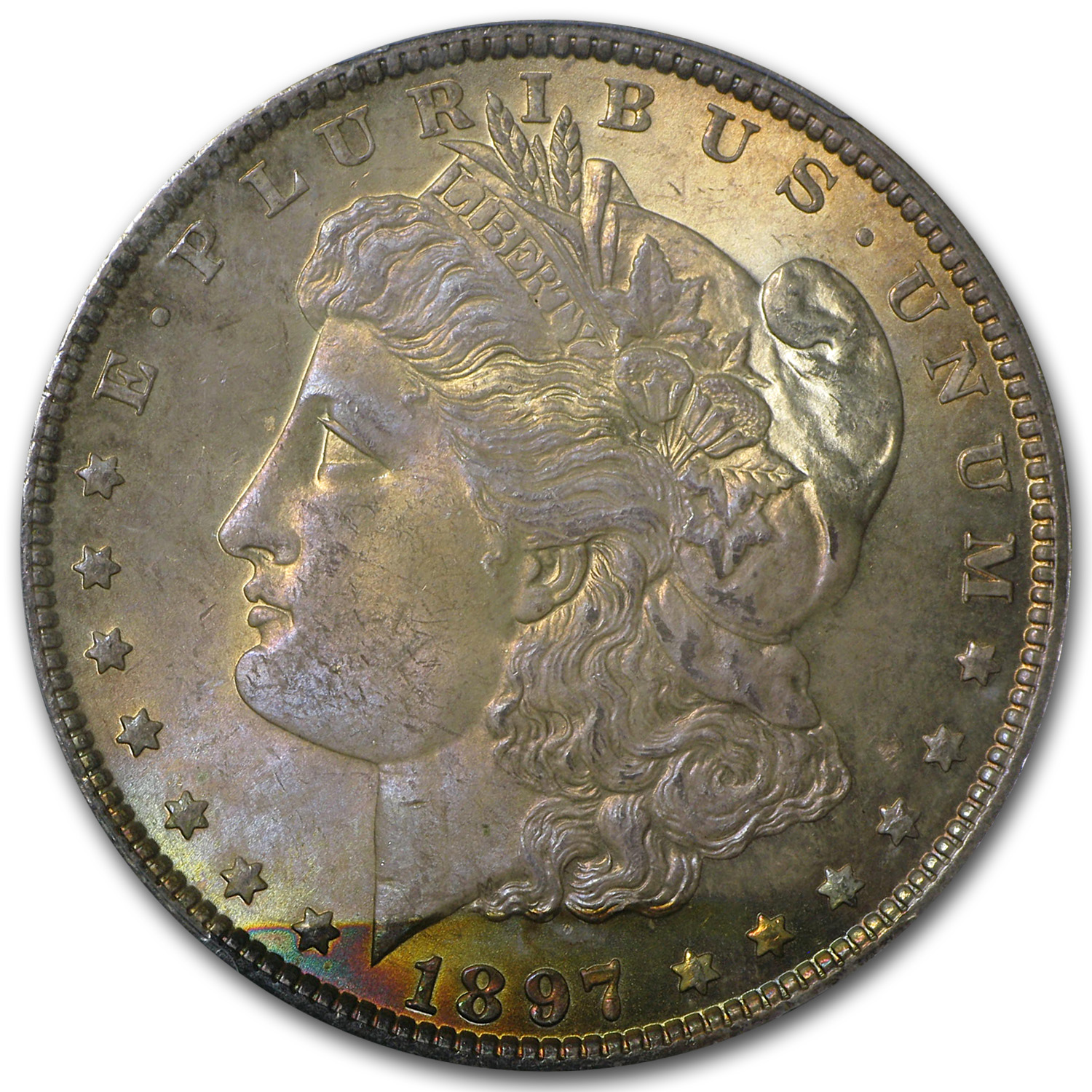 1897 Morgan Dollar MS-64+ Plus PCGS (Beautiful Toning)