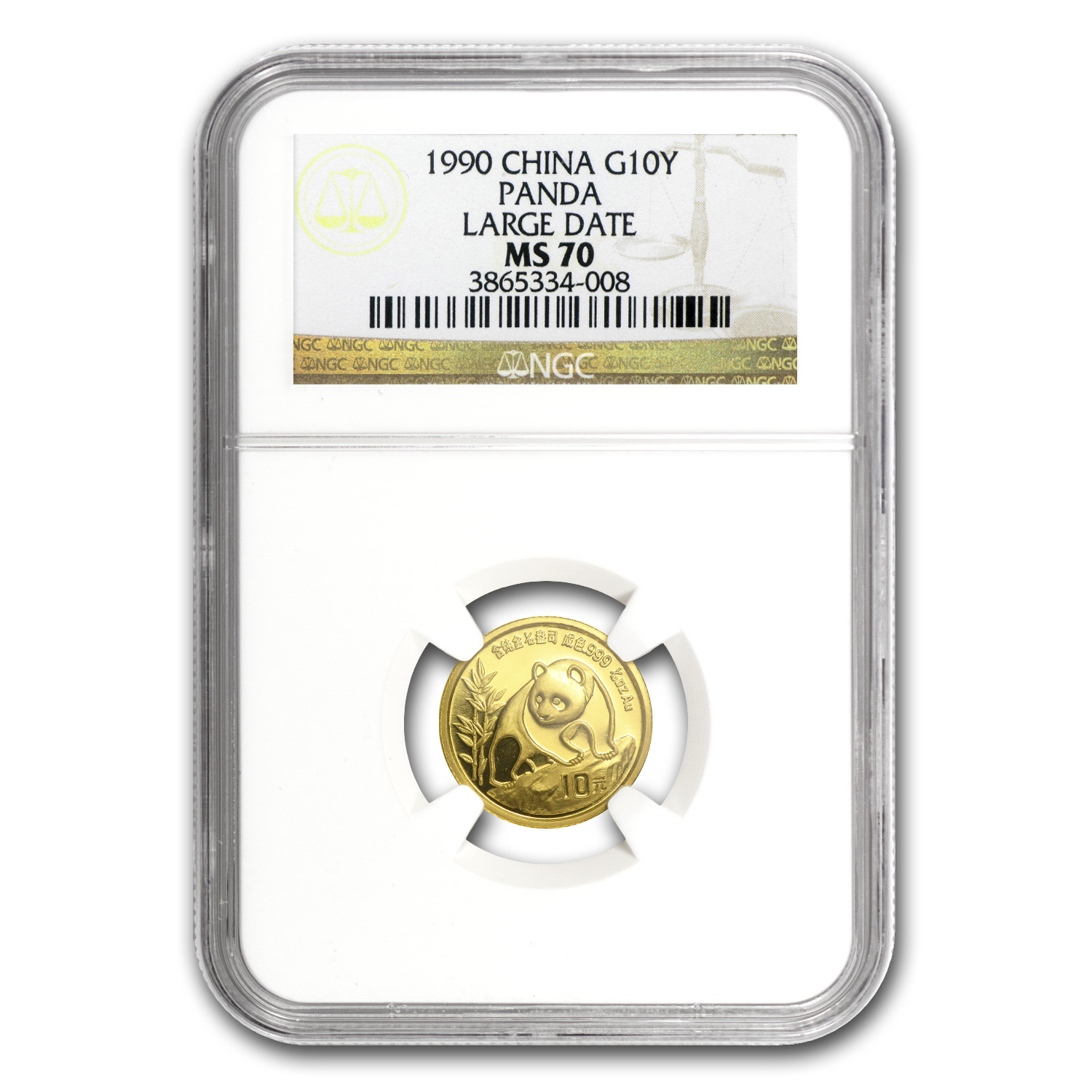 1990 (1/10 oz) Gold Chinese Panda Large Date - MS-70 NGC