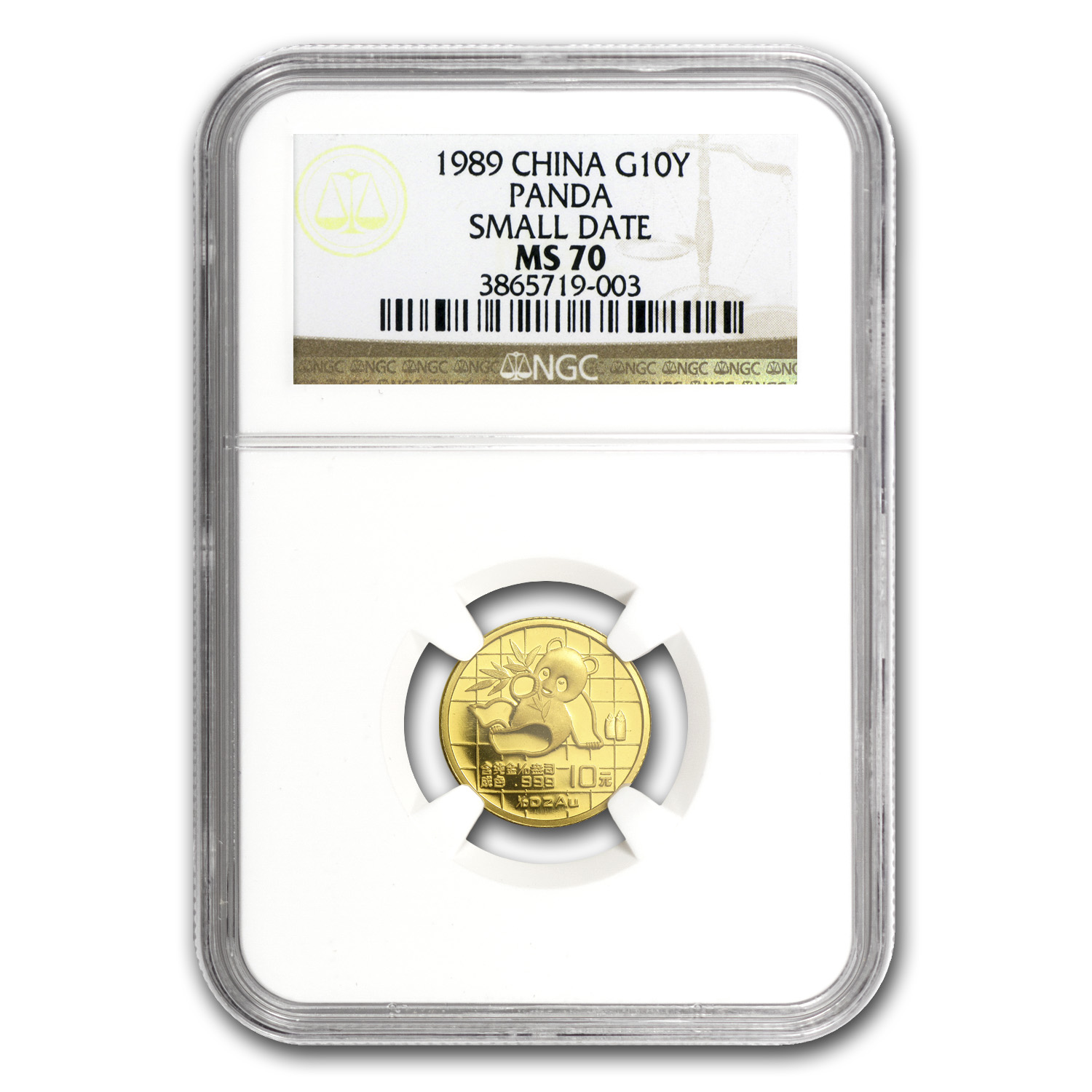 1989 (1/10 oz) Gold Chinese Panda - Small Date MS-70 NGC