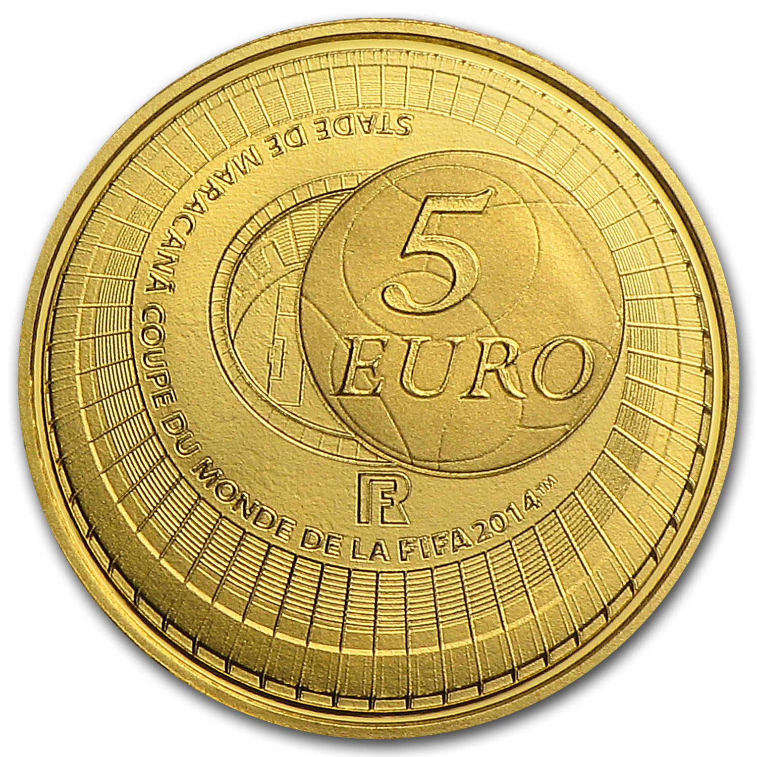 2014 France 5€ 1/2 Gram Gold Proof FIFA World Cup