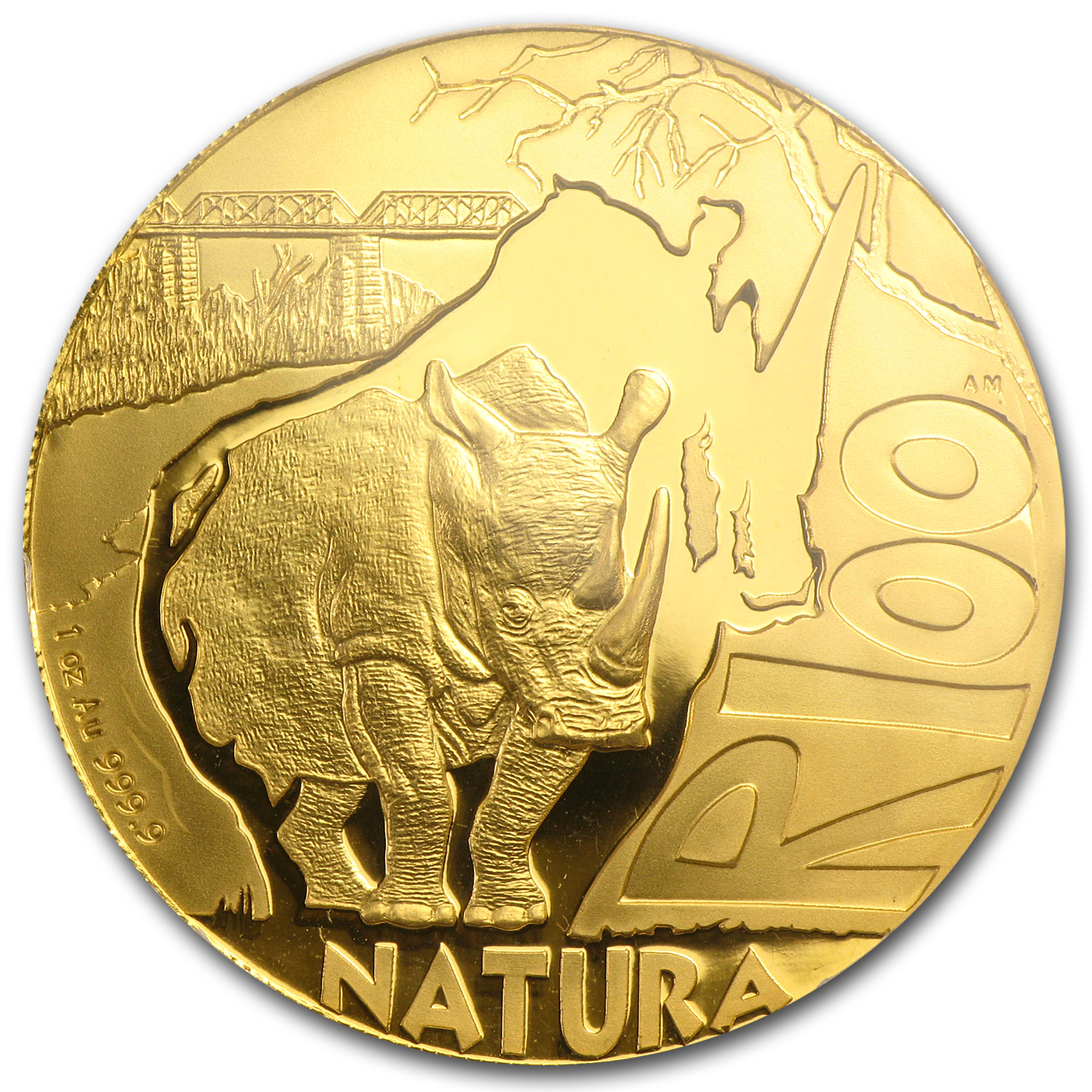 2009 1 oz Gold South African Natura (White Rhino) PR-69 PCGS