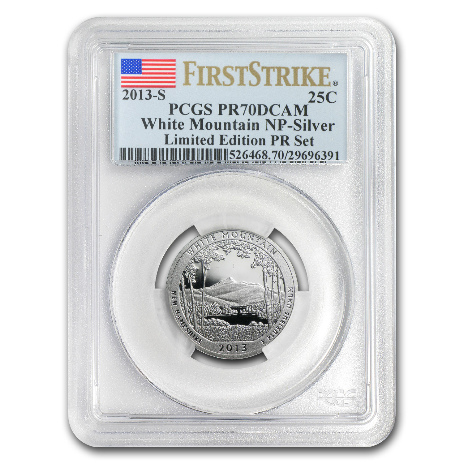 2013 Limited Edition Proof Silver White Mountain Quarter PR-70 FS