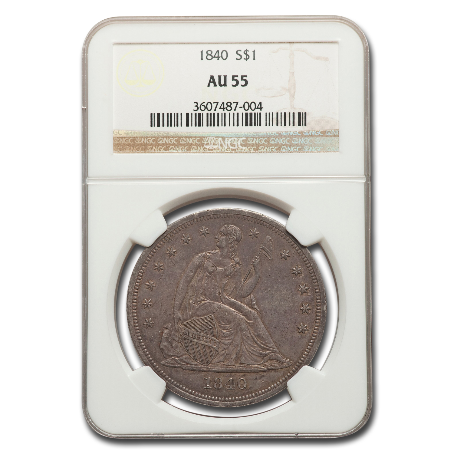 1840 Liberty Seated Dollar AU-55 NGC
