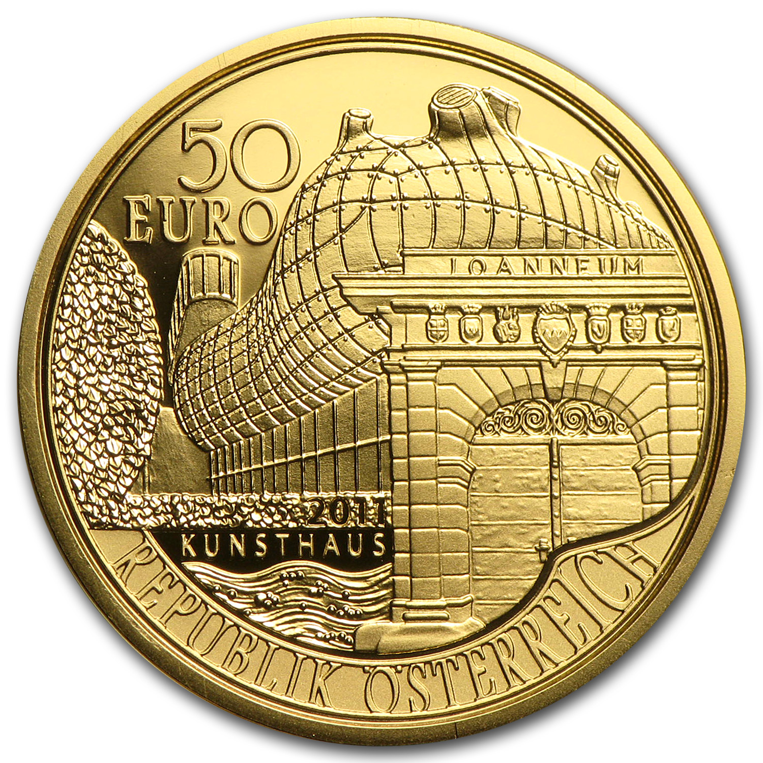 2011 Austria Gold 50 Euro Bicentenary of Joanneum at Graz Proof