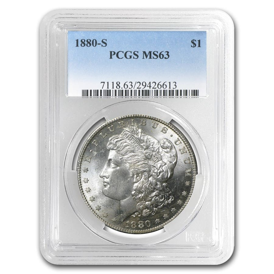 1878-1904 Morgan Dollars MS-63 PCGS (10 Different Dates/Mints)