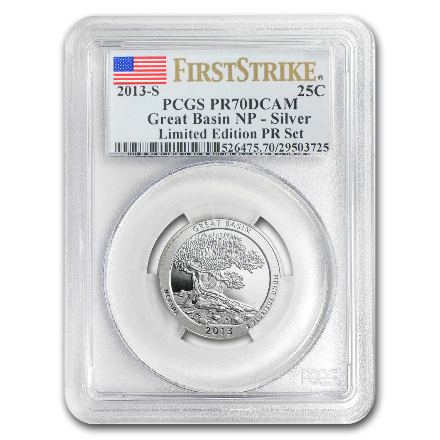 2013 Limited Edition Proof Silver Great Basin Quarter PR-70 FS