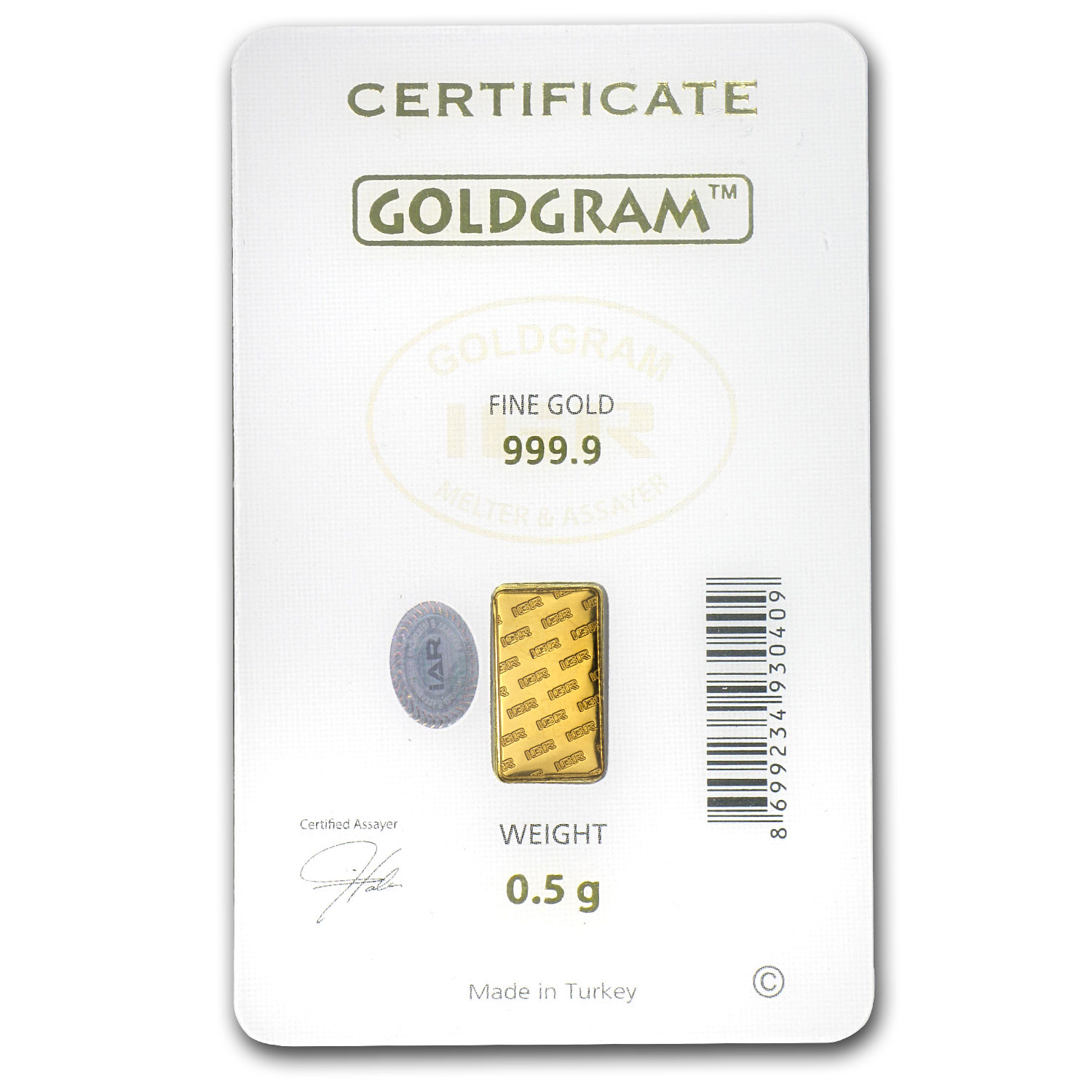 1/2 gram Gold Bar - Istanbul Gold Refinery (Graduation Assay)