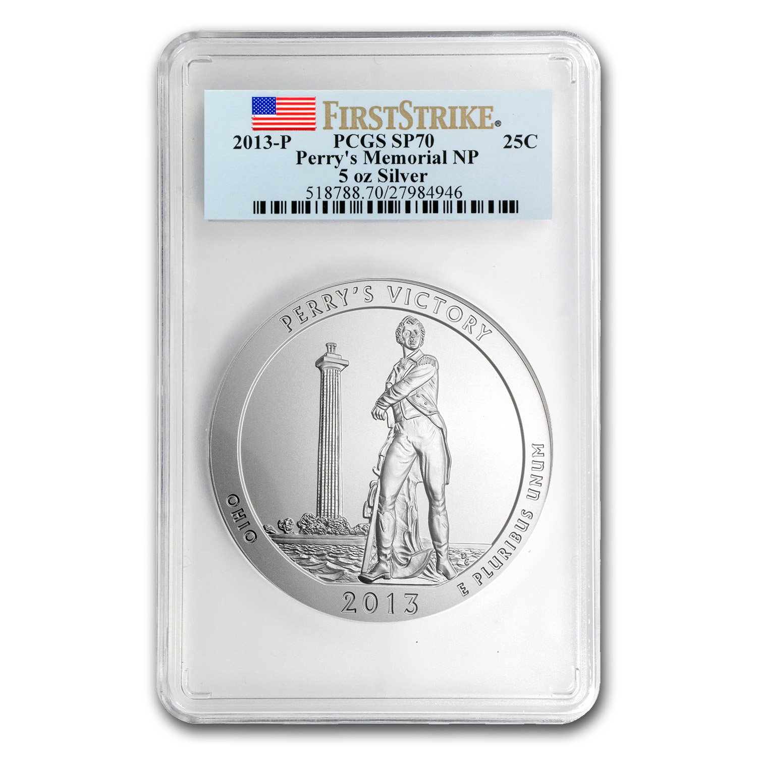 2013-P 5 oz Silver ATB Perry's Victory SP-70 PCGS (First Strike)